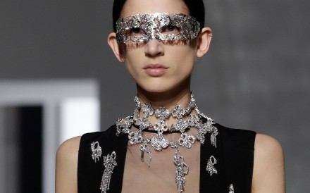 Sparkling accessories, pearly bustiers and soft feathers embellished Clair Waight Keller's designs for Givenchy haute couture at Paris Fashion Week. Photo: AFP