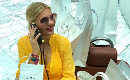 Instagram influencer Nicole Majdalany, who uses the handle Nicole_Ontrend, was blocked from her Instagram account for three days after posting a video of herself in a luxury Dubai mall with an attendant hidden behind a huge pile of her shopping bags. Photo: Luxurylaunches