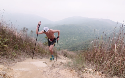 John Ellis powering up a hill on his way to victory in the 2018 Nine Dragons Ultra – a stark contrast from this year's climb, but he still finished third. Photo: Robin Lee