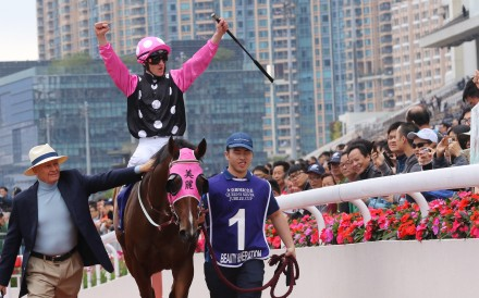 Zac Purton celebrates Beauty Generation's sixth Group One victory. Photos: Kenneth Chan