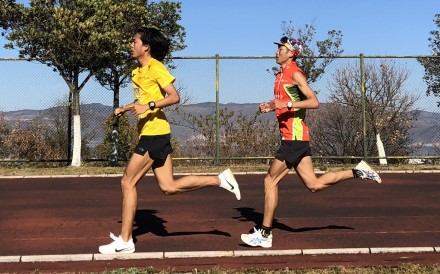Shen Jiasheng, 2019 HK100 champion, trains with Qi Min, 2018 HK100 champ, at Dali University. Photo: Handout