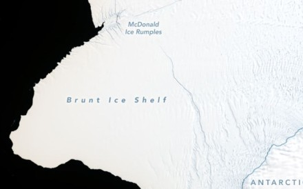 Cracks growing across Antarctica's Brunt Ice Shelf are poised to release an iceberg with an area about twice the size of New York City. Photo: Nasa