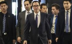 US Treasury Secretary Steven Mnuchin (centre) leaves a hotel in Beijing. Photo: Bloomberg