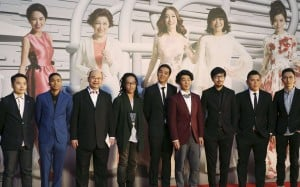 "Executive producer Andrew Choi (2nd R) with directors and cast members of movie ""Ten Years"", winner of the Best Film award at the Hong Kong Film Awards. Photo: Reuters"