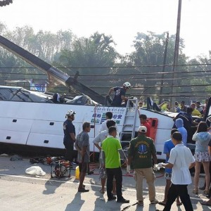 The aftermath of the crash in Phang Na province. Photo: Xinhua