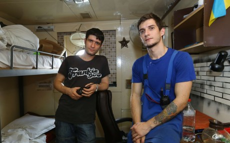 Oleksandr Iani (left) and Oleksandr Shestenbiuk on board the New Imperial Star. Photo: Edmond So