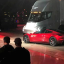 Tesla CEO Elon Musk shows off the Tesla Semi as he unveils the company's new electric semi truck during a presentation in Hawthorne, California, U.S., November 16, 2017. Photo: Alexandria Sage/Reuters