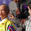 A little girl tries to touch artificial intelligence robot, Sophia, in Korean traditional costume, during a conference on the Fourth Industrial Revolution and AI robots held at the Plaza Hotel in downtown Seoul, Tuesday. Photo: Yonhap