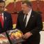 Indonesian President Joko Widodo with Danish Prime Minister Lars Løkke Rasmussen and the Metallica boxed set in November, 2017. Photo: Reuters