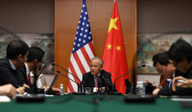 "Cui Tiankai, Chinese ambassador to the United States, in the Chinese embassy in Washington D.C. The embassy said that ""it is only polite to reciprocate"" to new tariffs US proposed this week."