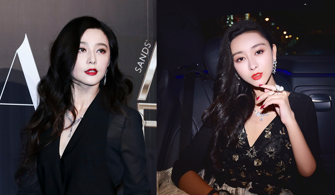 He Chengxi (right) underwent a series of plastic surgeries to look more like Fan Bingbing (left).