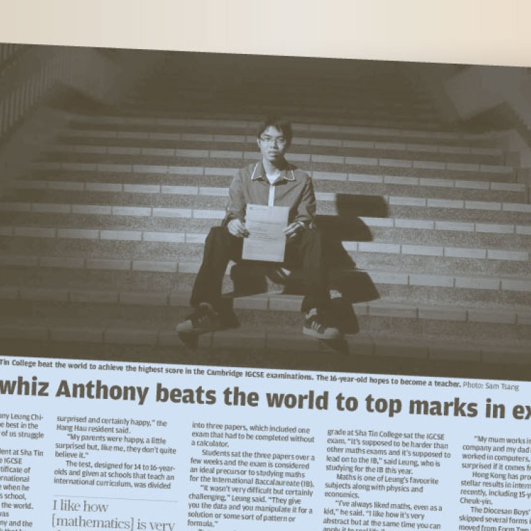 Maths whiz Anthony beats the world to top marks in exam