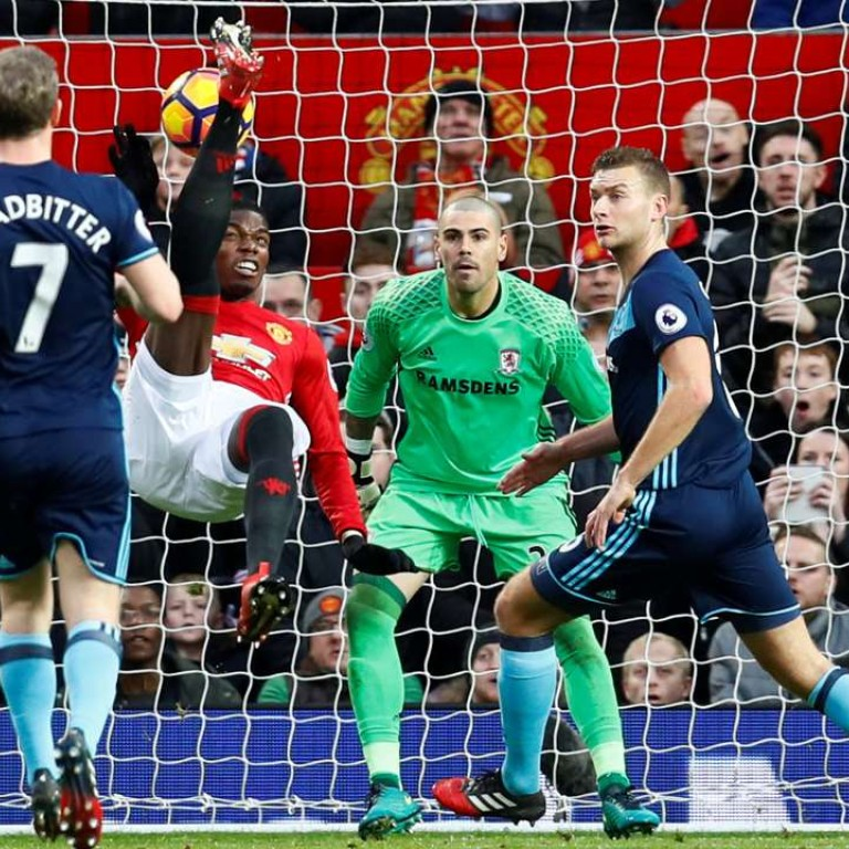 62f4e0d47 Manchester United's Paul Pogba hits the post with an overhead kick. Photo:  Reuters