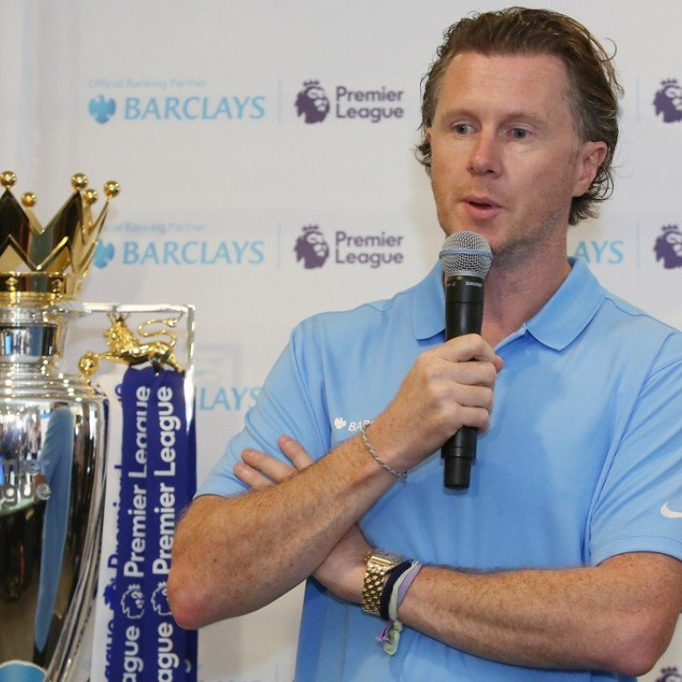 Steve McManaman with the Premier League trophy at a function with Barclays at the South China Morning Post offices in Causeway Bay. Photo: Edmond So