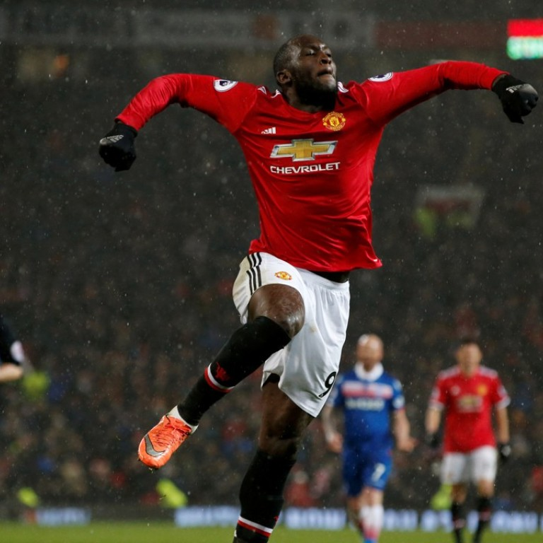 5bf640643 Manchester United s Romelu Lukaku celebrates scoring their third goal in  the win over Stoke City.