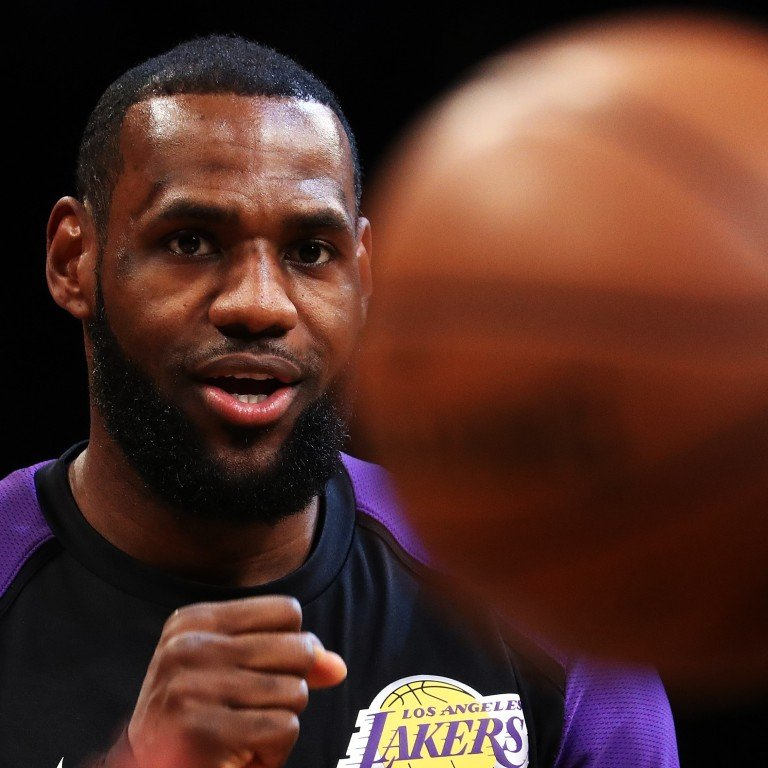 2cf6c1f6 LeBron James of the Los Angeles Lakers looks on before the game against the  Brooklyn Nets
