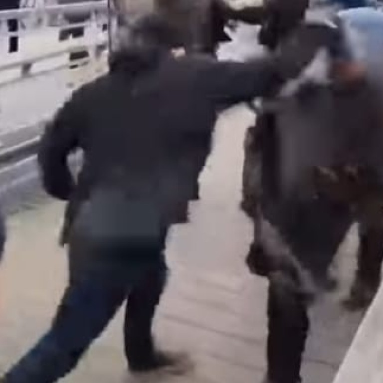 67928b138da Christopher Dettinger lashes out at riot police in Paris. Photo: YouTube
