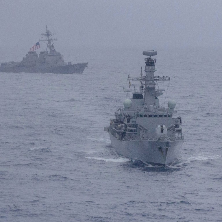 US and British navies carry out first joint drill in disputed South