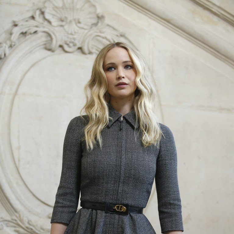 4dad1d38cc3 Actress Jennifer Lawrence arrives for Dior's fall/winter collection show at  Paris Fashion Show on