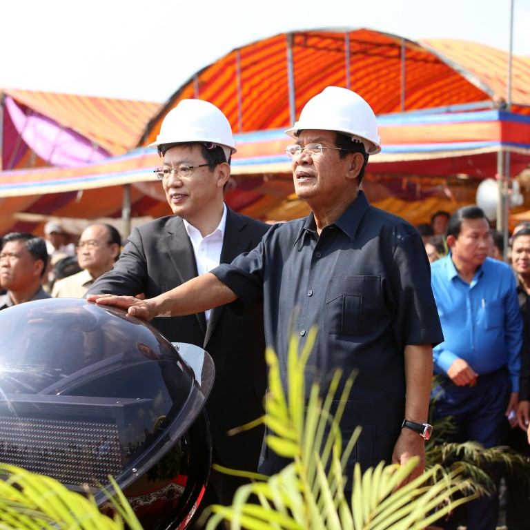 Cambodian Prime Minister Hun Sen (right, front) and Chinese ambassador to Cambodia Wang Wentian (left, front) attend a groundbreaking ceremony for the Cambodia-China Friendship Tboung Khmum Hospital in Tboung Khmum province, Cambodia, on Friday. Photo: Xinhua