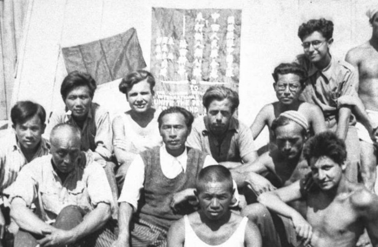 Xie Weijin (third from right at the back) with fellow inmates at Gurs internment camp, in France, in 1939.
