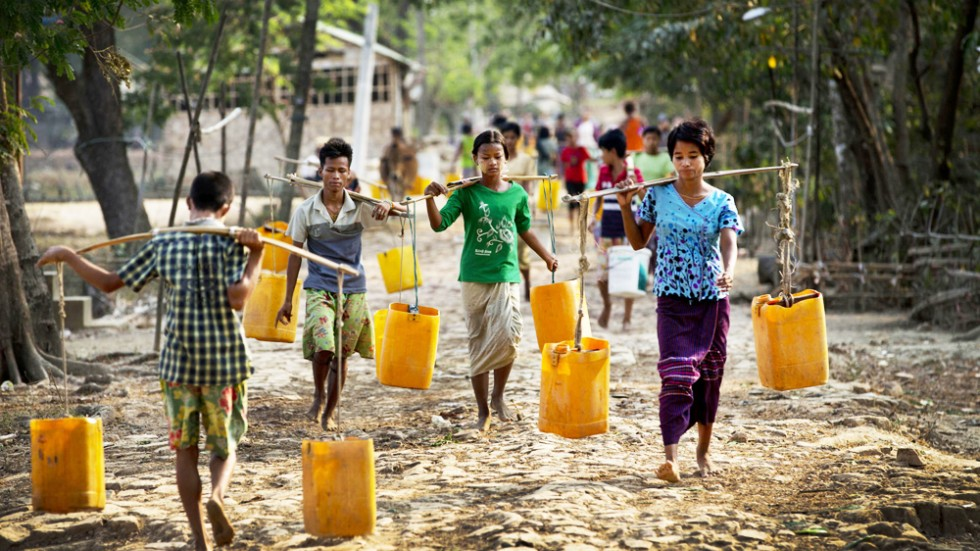 With Pond The Only Water Supply In Village Near Yangon