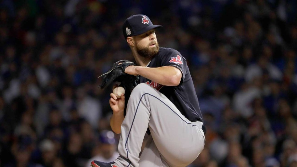 e3d96156c48 Cleveland Indians rout Chicago Cubs to put one hand on World Series title