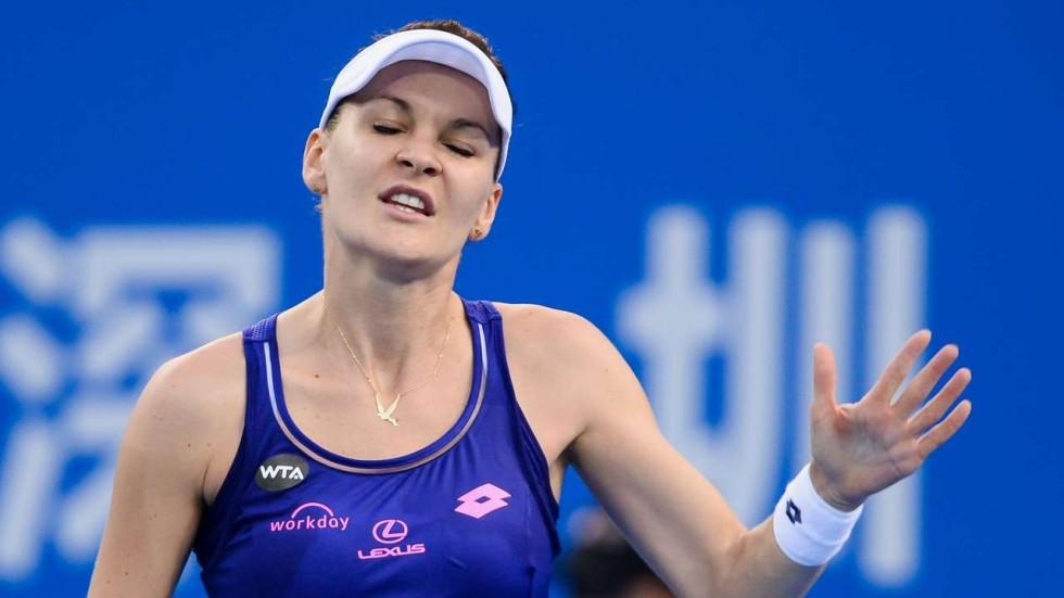 Agnieszka Radwanska of Poland reacts during her quarter-final match against American Alison Riske at the Shenzhen Open. Photos: AFP