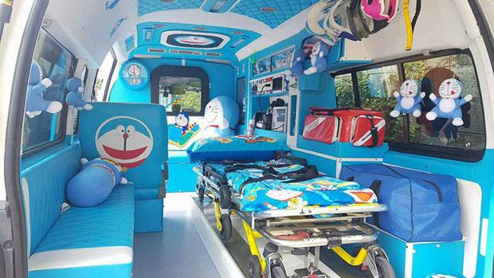 doraemon themed ambulance in thailand gives patients a stress free ride south china morning post. Black Bedroom Furniture Sets. Home Design Ideas