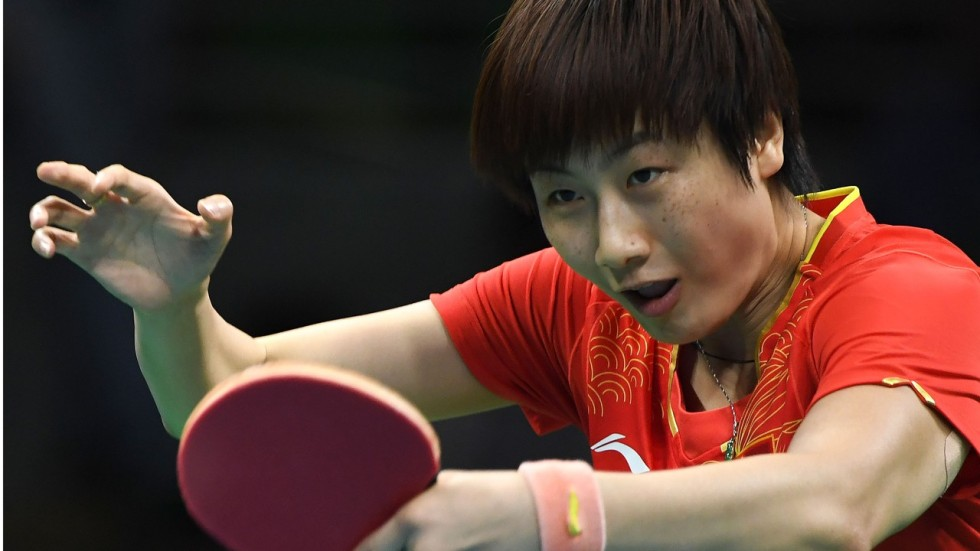 China\'s Olympic and World champion table tennis star Ding Ning gives ...