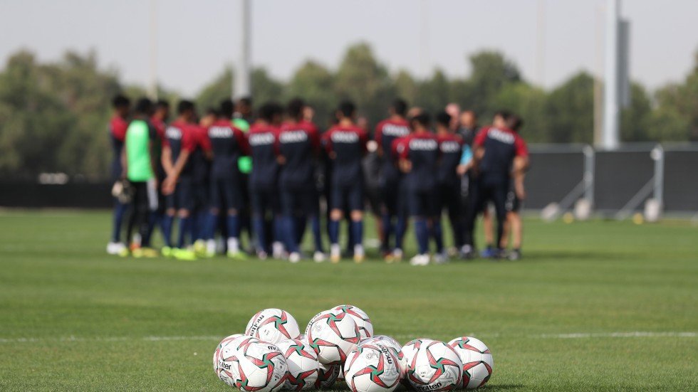 ac10b07f0 Oman s football team participates in a training session in the Emirati  capital Abu Dhabi ahead of the AFC Asian Cup. Photo  AFP