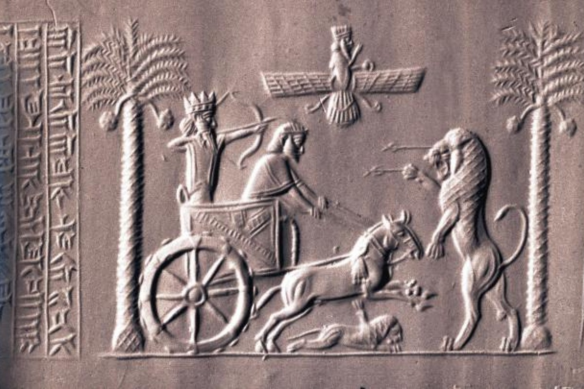 An impression of the 2,600-year-old Seal of Darius the Great, showing horses that are now believed to have been Caspians.