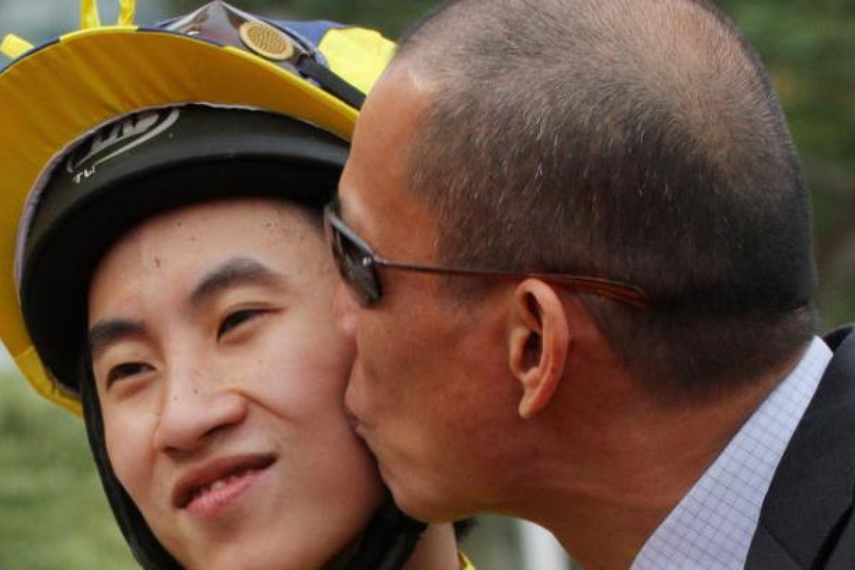 Terry Wong gets a kiss from owner Wong Wing-keung. Photo: Kenneth Chan