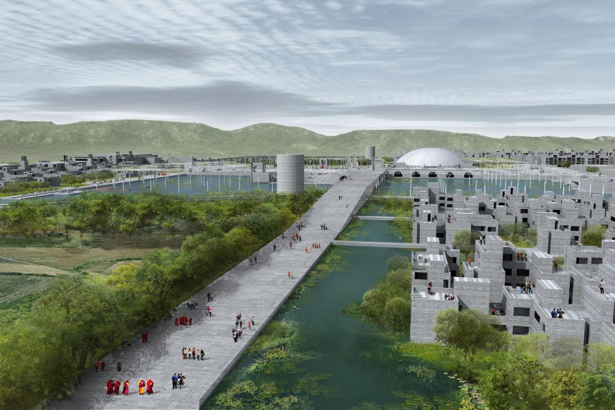 An artist's impression of Nalanda University, as designed by architectural firm Vastu Shilpa. Photos: Xinhua