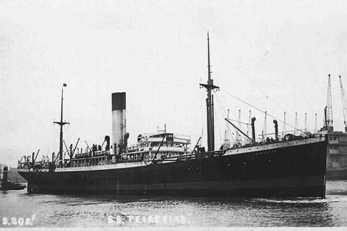 The SS Teiresias, the ship on which Plant died, in 1921.