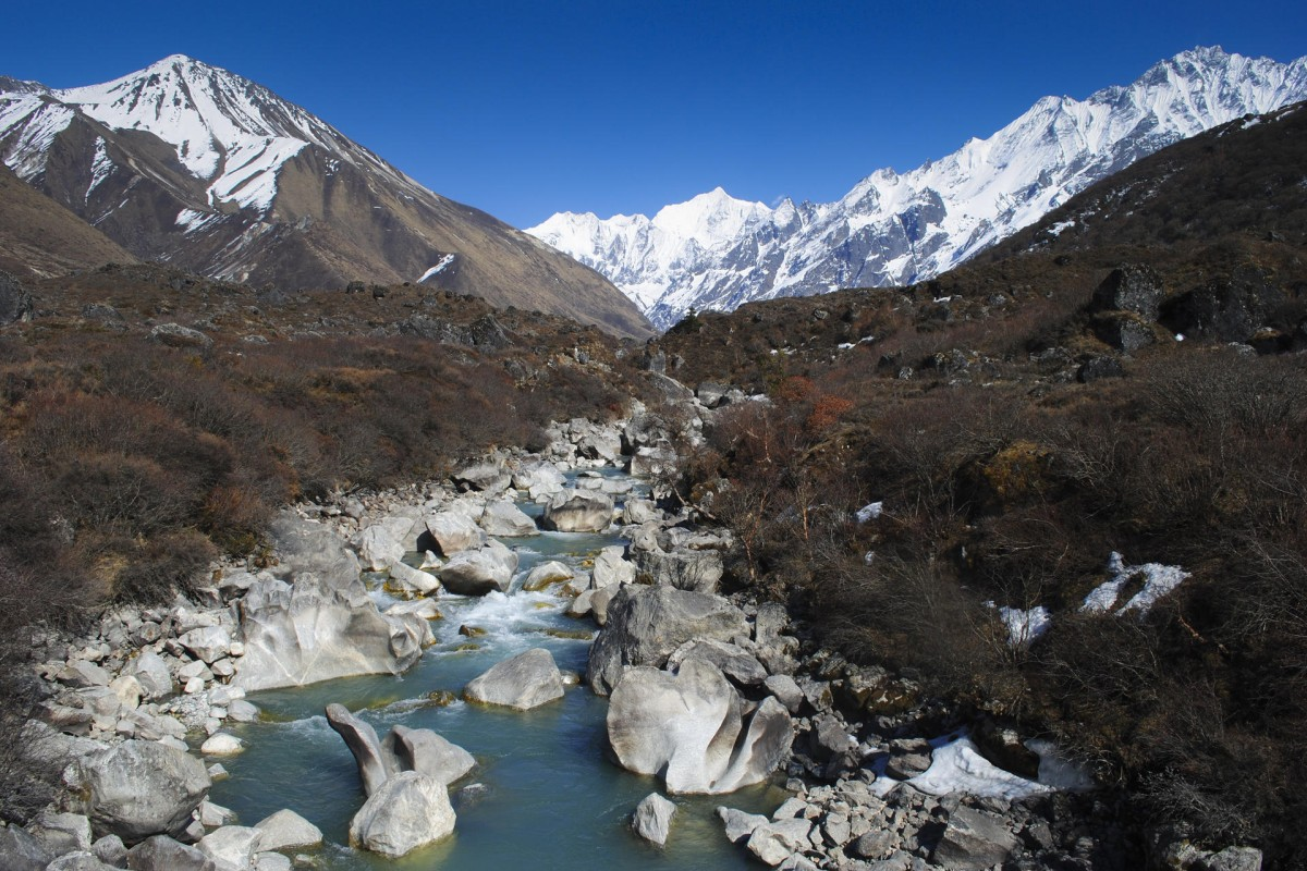 Boulders sculpted by meltwater in the upper reaches of the Langtang Khola river.