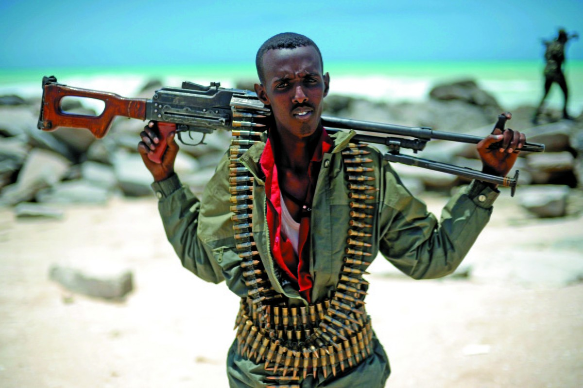A militiaman on a beach in the Somali town of Hobyo.