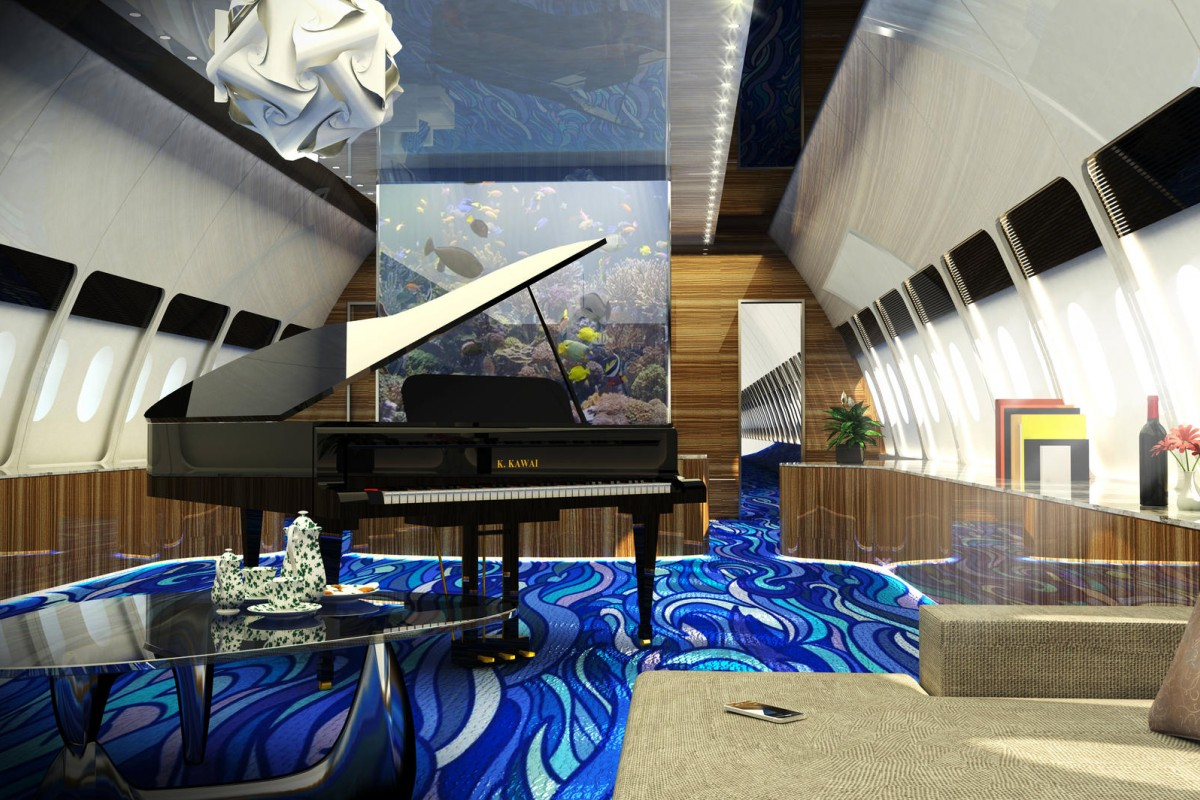 The converted Airbus includes a lounge area with a customised grand piano and tropical aquarium.