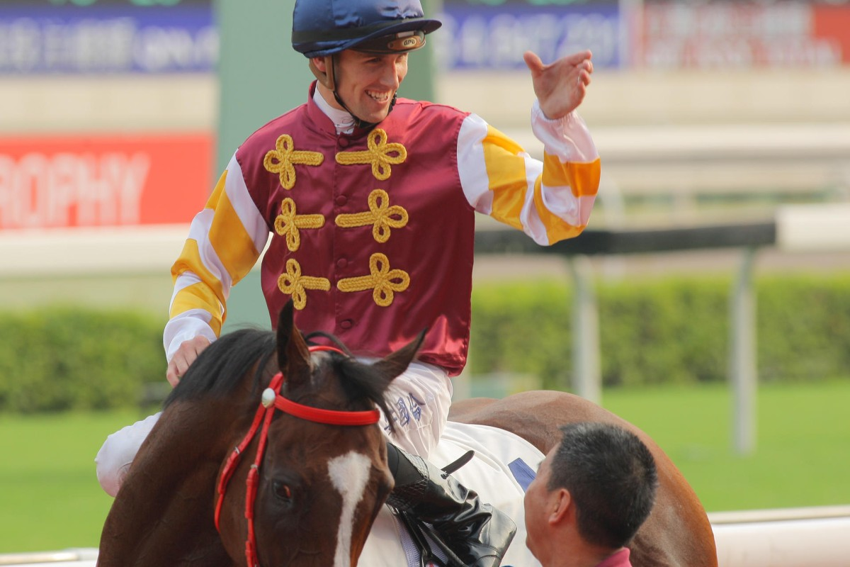 Tye Angland has a good chance of taking home Sunday's Centenary Sprint Cup at Sha Tin. Photo: Kenneth Chan