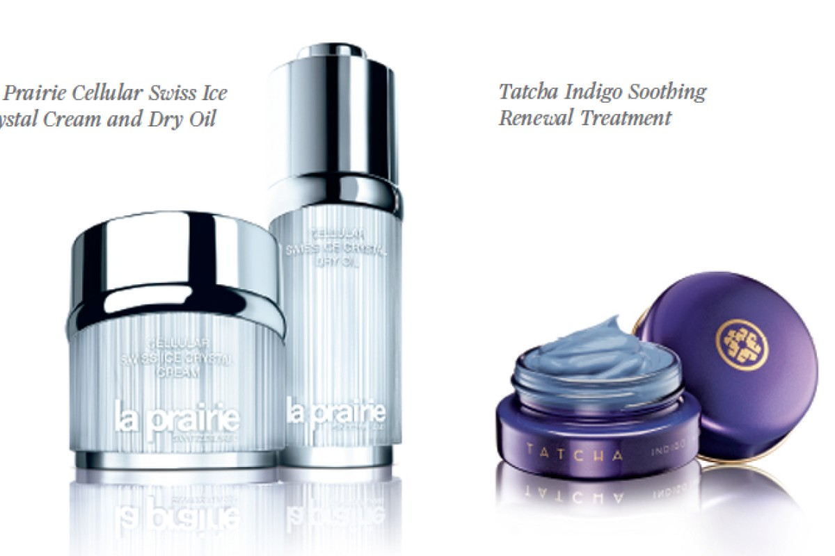 From left: La Prairie Cellular Swiss Ice Crystal Cream and Dry Oil, Tatcha Indigo Soothing Renewal Treatment.