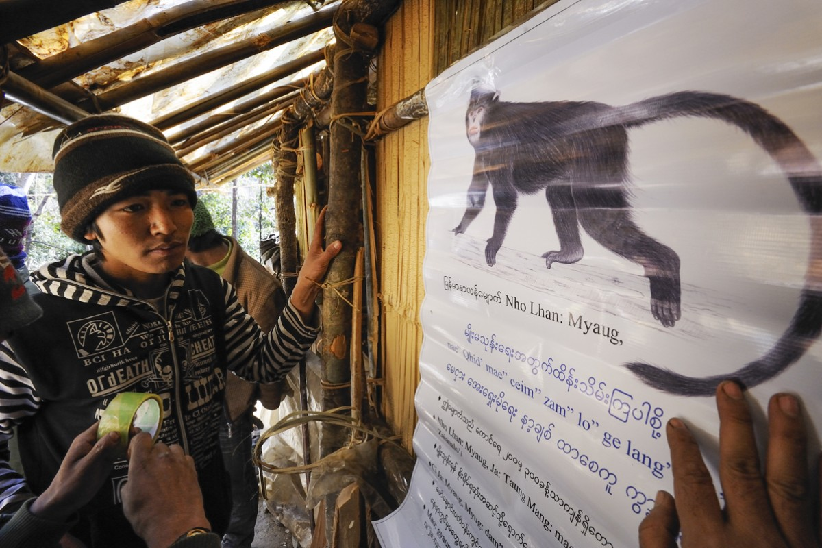 Ethnic Li Su villagers read a conservation-awareness poster that is part of FFI's campaign to save the newly discovered species.