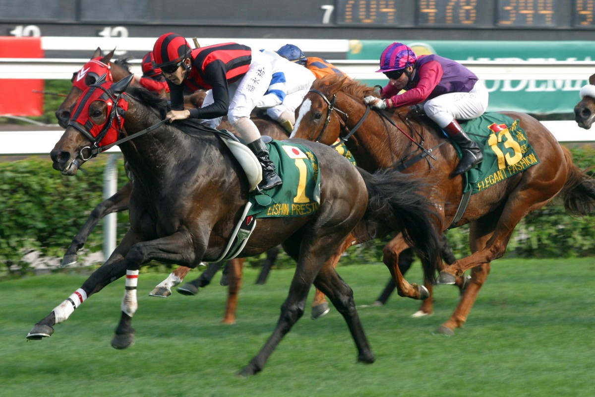 Japanese horse Eishin Preston heads for the post in the 2003 QE II Cup. Photo: Kenneth Chan