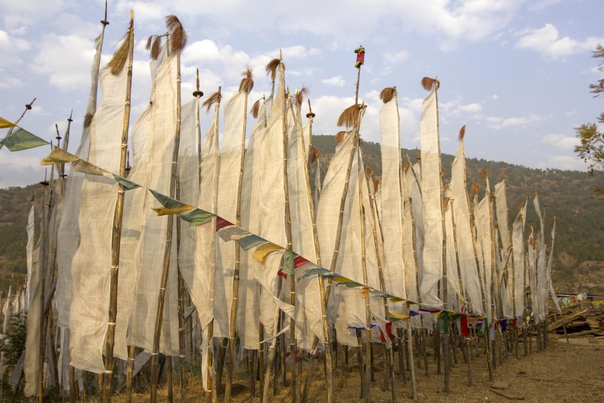 Prayer flags at Chimi Lhakhang.
