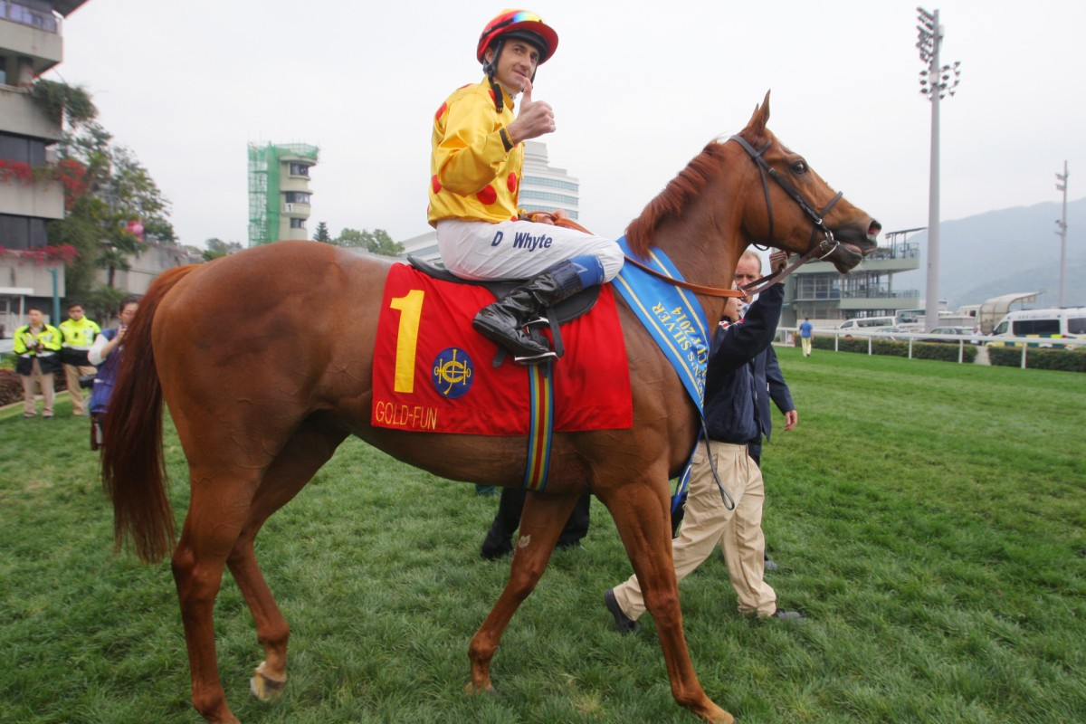 Gold-Fun, ridden by Douglas Whyte, won the Queen's Silver Jubilee Cup on March 16 this year at Sha Tin. Photo: Kenneth Chan