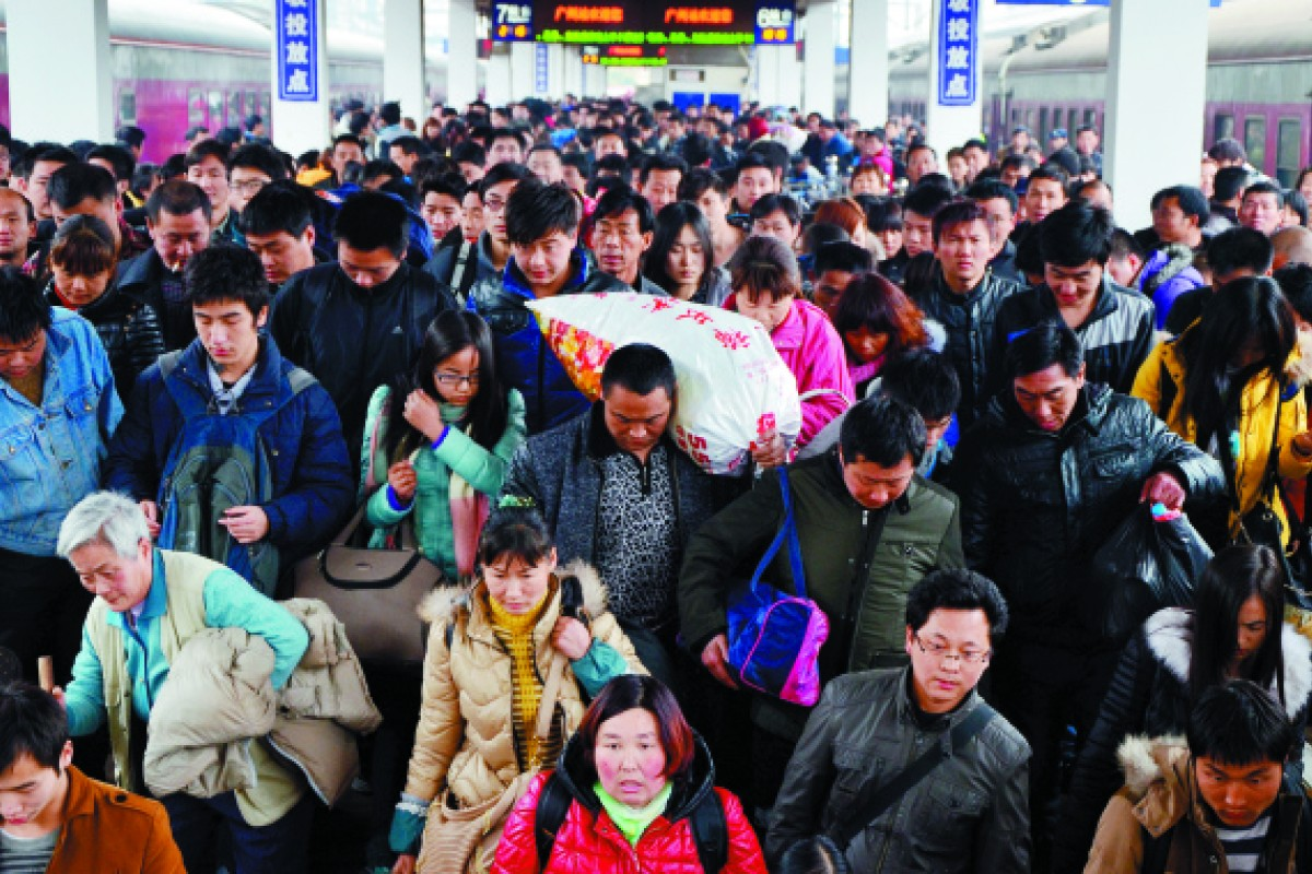 Guangzhou Railway Station after the Lunar New Year break in February.
