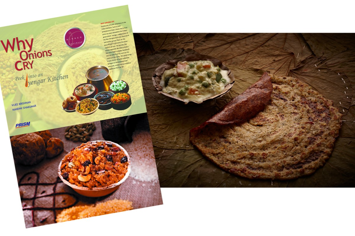 Vijee Krishnan's book Why Onions Cry features recipes for sakkarai pongal (sweet rice with jaggery; above left) and adai aviyal (vegetables with lentil crepes; above right).