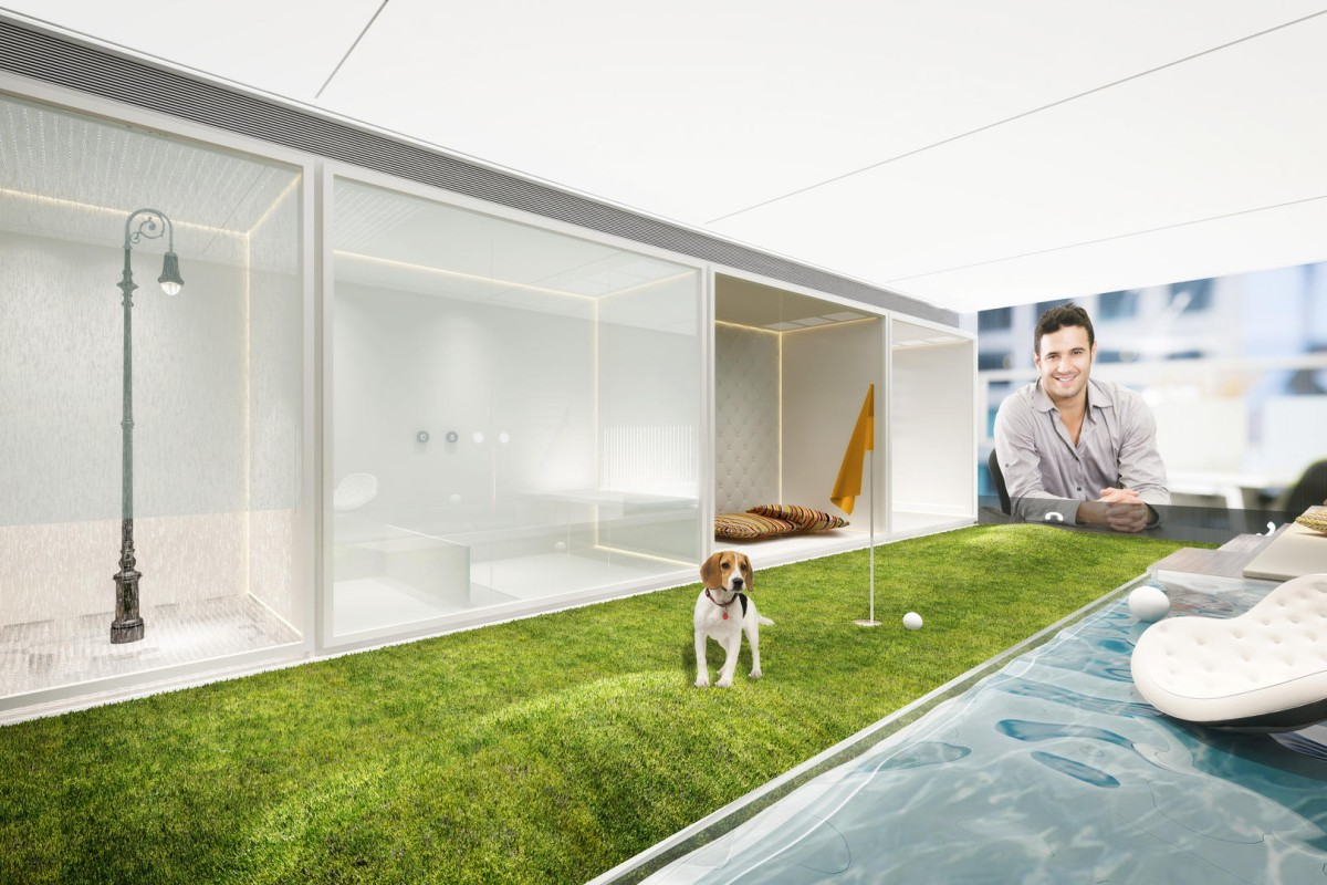 The ultimate luxury dog complex includes a mini-golf course, a swimming pool, a grooming booth, a gourmet booth, a potty box booth and sleeping quarters. Illustration: Alex Wong and 3D Shine Visual Design