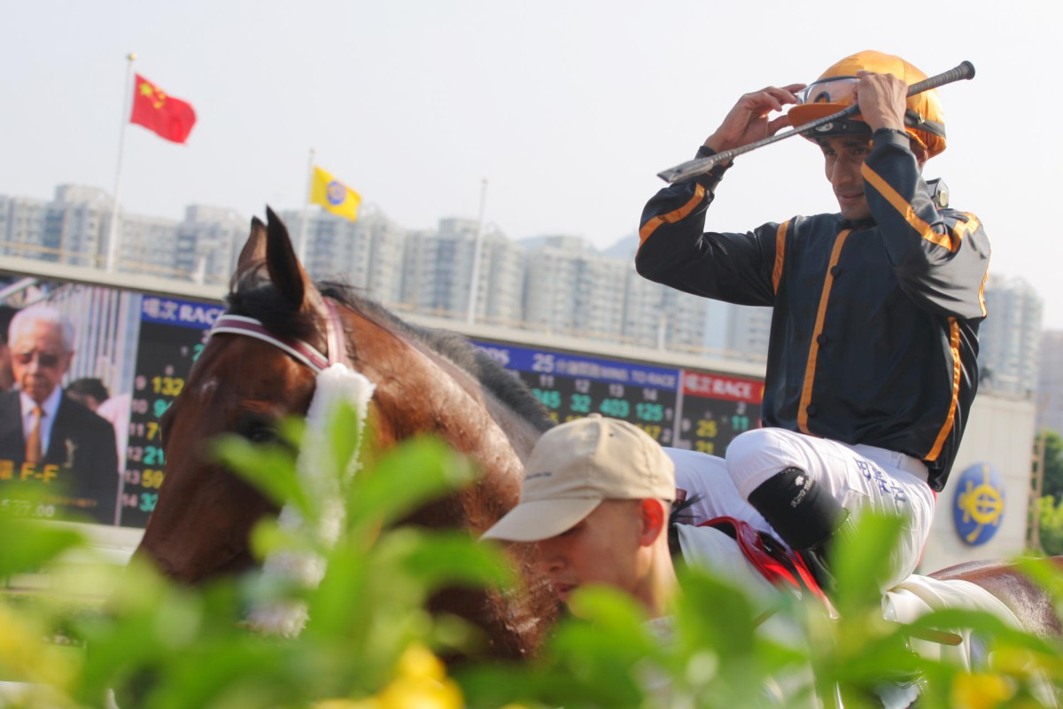 Karis Teetan adjusts his goggles after scoring aboard Able Warrior. Photos: Kenneth Chan