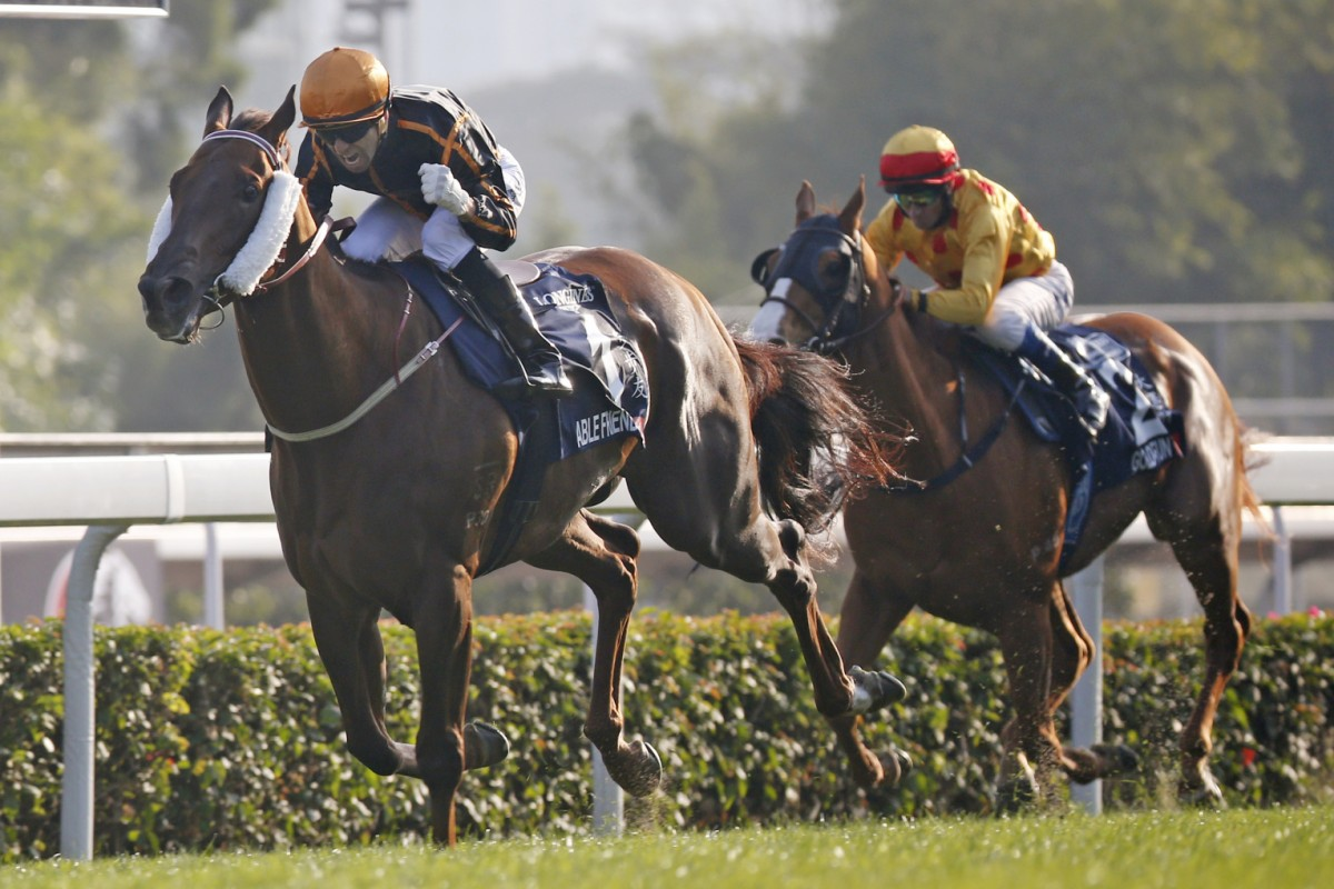 Able Friend and Joao Moreira win the Hong Kong Mile in stunning fashion. Photo: AP