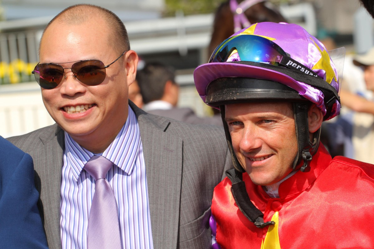 Trainer Chris So wai-yin and jockey Brett Prebble are all smiles after Easy Success scores a win at Sha Tin. Photos: Kenneth Chan